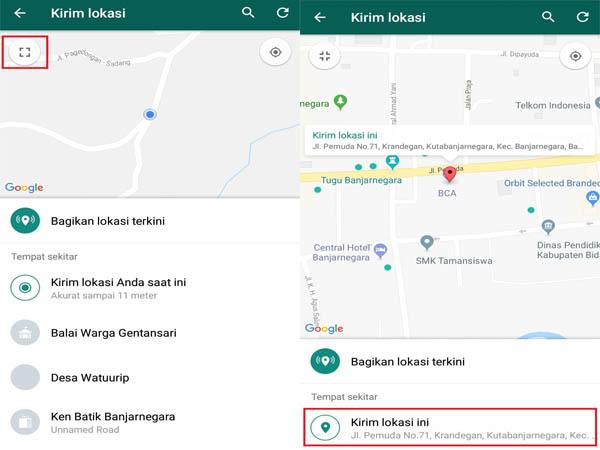 cara berbagi lokasi tempat di whatsapp