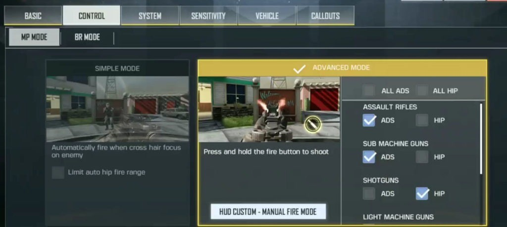 Settingan call of duty mobile terbaik