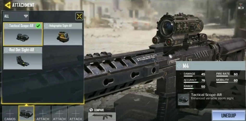 Settingan call of duty mobile terbaik - attachment