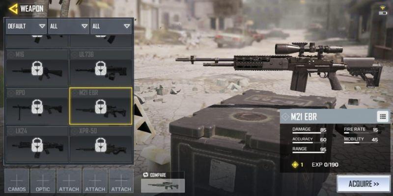 senjata terbaik call of duty mobile