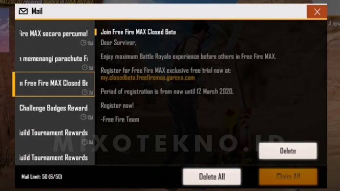 free fire max invitation on mail