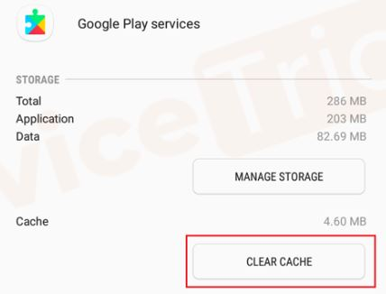 clear cache google play service
