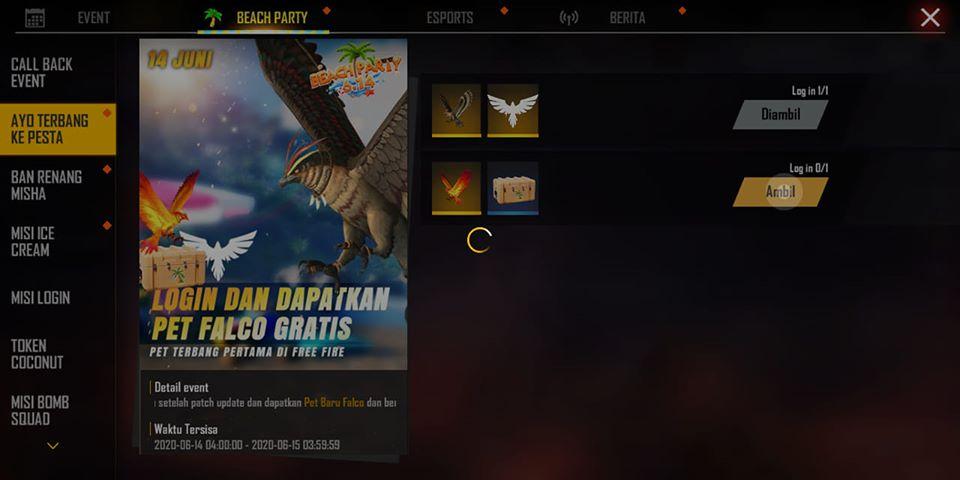 cara mendapatkan pet falcon di free fire